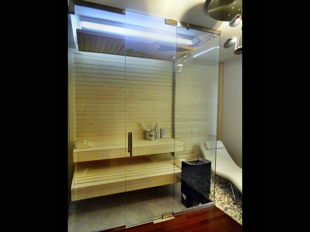 sauna z duzym przeszkleniem nowoczesna